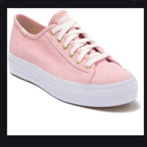 Kids Triple Kick Chambray Pink Sneakers